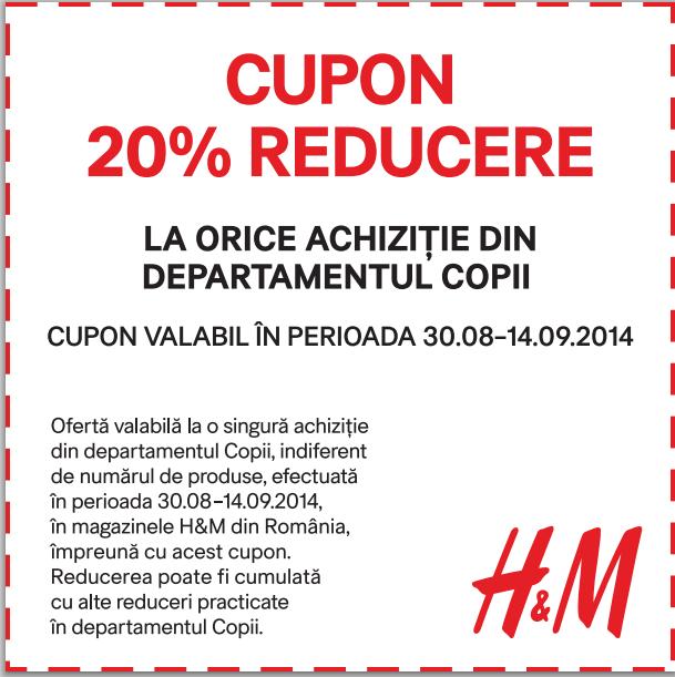 cupon reducere 20% h&m